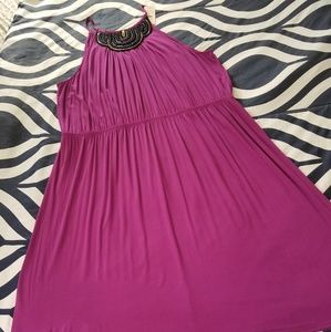 Purple dress with beautiful neck design